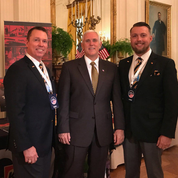 photo of Gage Kent, United States Vice President Mike Pence, and Jimmy Kent